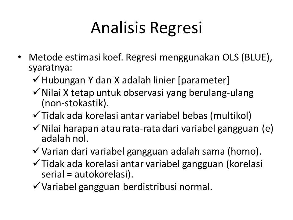 Analisis Regresi Metode estimasi koef. Regresi menggunakan OLS (BLUE), syaratnya: Hubungan Y dan X adalah linier [parameter]